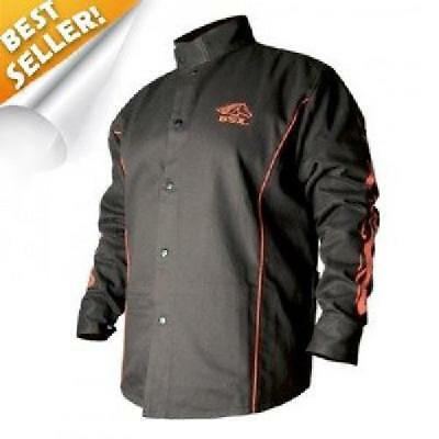 BSX Black Welding Jacket With Red Flames XL For Men Biker Free Shipping New