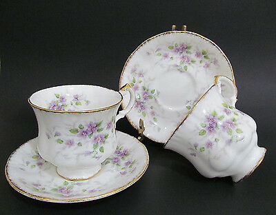 Paragon Malandi Teacup & Saucer - 2 sets Gilded Violets English China England