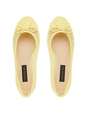 Forever New Floral Lace Ballet Flats Magnolia yellow sz 40 rrp $49.99 BNWT