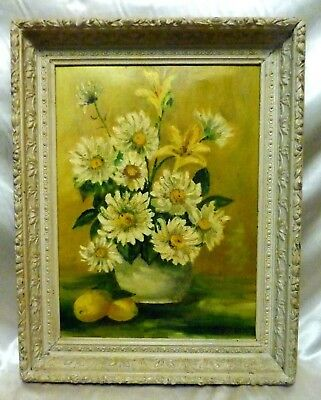 Grobtner Signed Vintage Floral Bouquet White Wash Antique Style Wood Frame