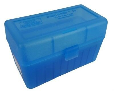 NEW MTM 50 Round Flip-Top 270 Win 280 Rem 30-06 Rifle Ammo Box - Clear Blue
