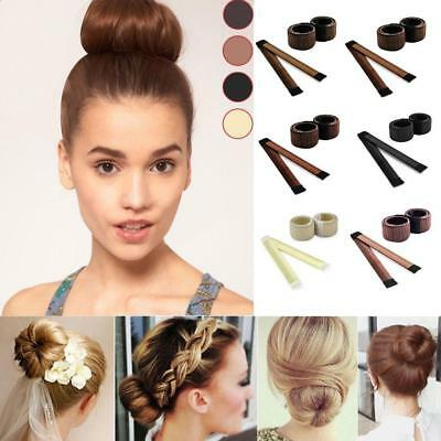 Hair Bun Maker Donut Styling Bands Former Foam French Twist Magic DIY Tool UK