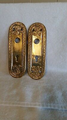 Vintage Art Nouveau Brass Door Knob Back Plates Set of 2 Victorian Skeleton Key