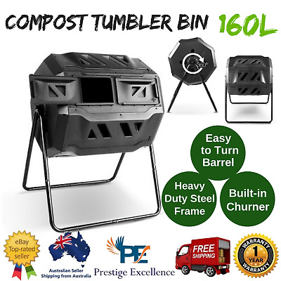 160L Compost Tumbler Bin Waste Composter Recycling Outdoor Garden Twin Chamber