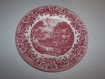 Staffordshire Engraving 17th Century Salad Plate (Red & White)