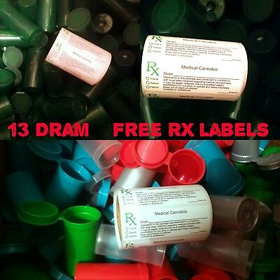 RX 25 × Squeeze pop top pots 13 dram container RX labels free herb pill tubs