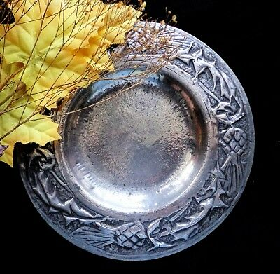 Vintage Scottish THISTLES ON PEWTER Small Handcrafted Plate Scotland