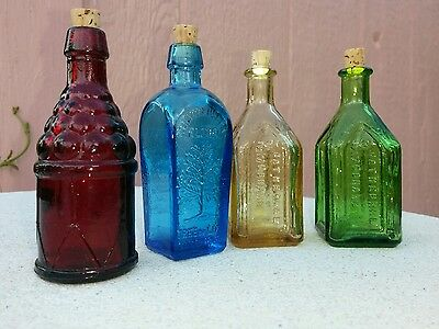 "VTG CHIEF WAHOO ELECTRIC TONIC CATHEDRAL BRAND MINIATURE 3"" BOTTLES lot of 4"