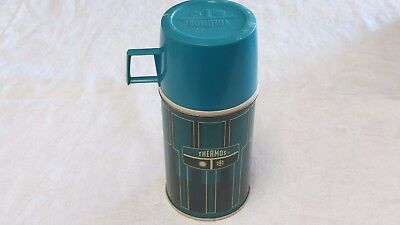 Vintage 1971 Glass lined Thermos Bottle 2810 Green/Turquoise King-Seeley Thermos