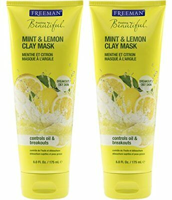 Freeman Feeling Beautiful Facial Clay Mask Mint & Lemon 6 oz (Pack of 6) Lip Balm - Organic Peppermint 4 Pack, Natural Beeswax Clear Gloss Finish, Long Lasting Smooth Formula for Moisturizing & Hydrating Chapped, Cracked Lips with Best Mint Flavor, (Set of 4) Made in USA