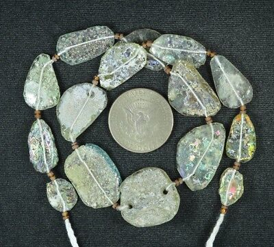 Ancient Roman Glass Beads 1 Medium Strand Aqua And Green 100 -200 Bc 809