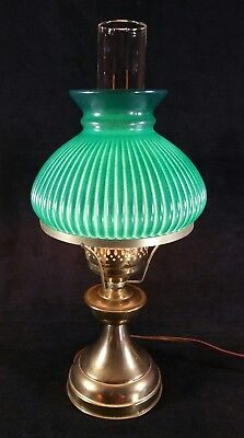 """Vintage Electric Lamp W Oil Lamp Design & Classic Green Glass Shade 17.5"""" Works"""