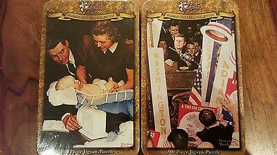 New sealed 2 Norman Rockwell 500 pieces puzzle: America and Family(metallic box)