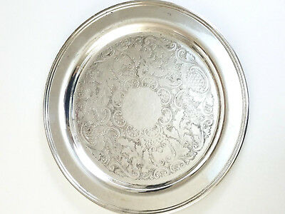 """Vintage Silverplate Round Serving Tray 13"""" Etched"""