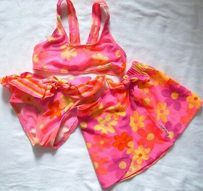 Gymboree Vintage 2 Pc. Hot Pink Floral Swimsuit w/ Skirt, Size S (18-24mos)