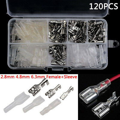 120pcs 2.8mm 4.8mm 6.3mm Crimp Terminals Female Connectors Kit Insulated Kit