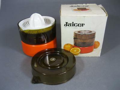 Vintage/retro 70s space-age orange plastic citrus juicer Hong Kong MIB batt-op