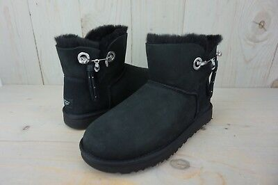 7ccbe57fa1a UGG JOSEY BLACK Suede Sheepskin Bling Pin Winter Mini Womens Boots ...
