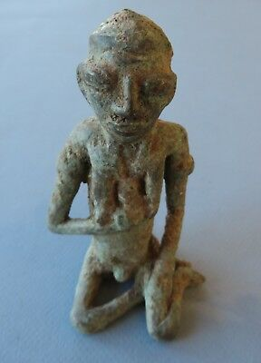 """Antique Dogon, Mali Cast Bronze, Heavily Patinaed Female Figure with Baby, 5""""H"""