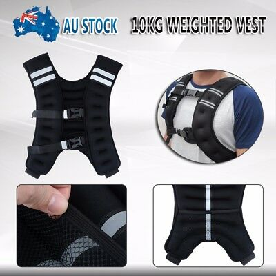 10kg Weighted Weight Vest Jacket Extra Gym Training Running Fitness Adjustable