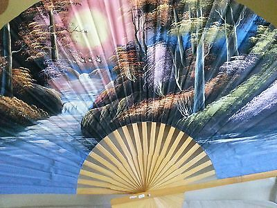 """Vintage Large Asian Fan Wall Decor, Hand Painted, Birds Blue XL 60"""" X 35"""""""