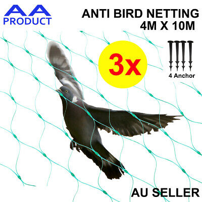 Anti Bird Netting Commercial Fruit Tree Plant Knitted Pest Net Green 4x30m 6GSM
