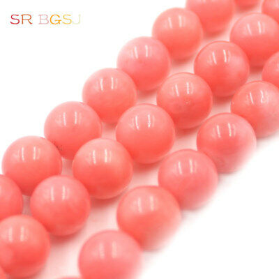 4-18mm Natural Round  Pink Orange Sea Bamboo Coral Gemstone Jewelry Beads 15""