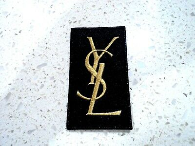 New Gold YSL Logo Patch Embroidered Cloth Patches Applique Badge Iron Sew On