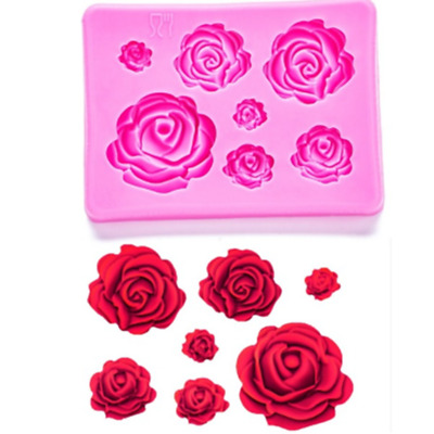 3D Roses Shaped Silicone Mould Fondant Chocolate Cake Decorating Baking Mold DIY