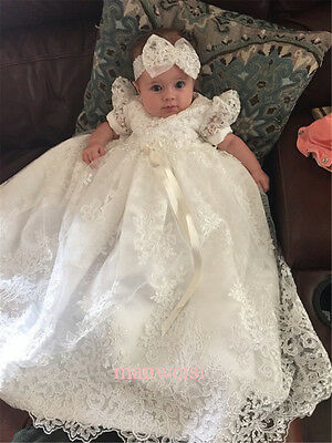 Ivory Vintage Christening Dress Baptism Gowns Lace Toddler Baby In Stock+Bowknot