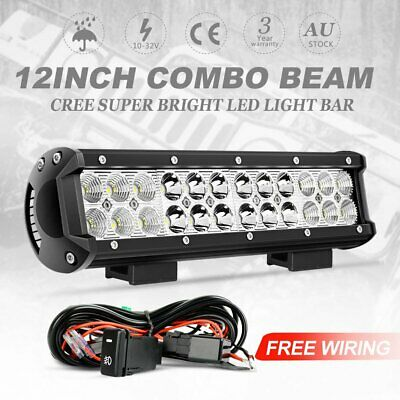 12inch 240W CREE LED Light Bar Work Spot Flood Combo Offroad + Wiring Loom Kit