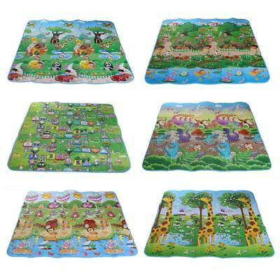 2 Side Kid Crawling Educational Game Play Mat Soft Foam Picnic Carpet  200x180cm