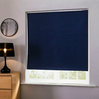 Blackout Window Roller Blinds 100% Thermal Vertical Blind Easy To Fit NAVY BLUE
