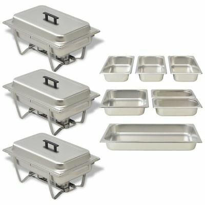 3 Chafing Dish Set Stainless Steel Kitchen Catering Party Hot Food Warmer Pans
