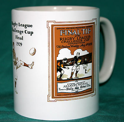 DEWSBURY v WIGAN.CUP FINAL 1929.RETRO DESIGN RUGBY MUG.GREAT GIFT.NEW.BNIB