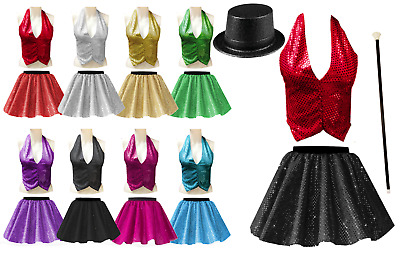 GIRLS Ringleader THE GREATEST SHOWMAN Costume SEQUIN Skirt OR BACKLESS Waistcoat