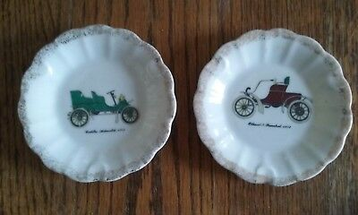 S910 JAPAN - 2 Small Hand Painted Ornamental Plates -1903 Cadillac, Oldsmobile