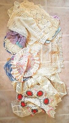 Huge Lot 50 Vintage Antique Lace Crocheted Tatted Runners Tablecloths Doilies #3