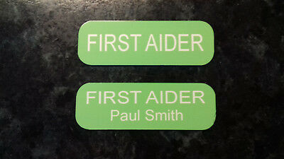 First Aid / Aider Badge Green Metal can be personalised
