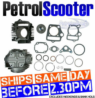 Pit Dirt Bike CYLINDER HEAD BARREL Kit Change 90cc - 110cc Gasket Piston 90 Ring