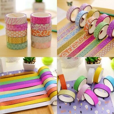 10 Rolls Colorful Cute Washi Tape Adhesive Sticky Paper Masking Tape Craft Decor