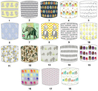 Elephant Designs Lampshades, Ideal To Match Children`s Elephant Duvet Covers.