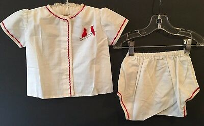 Vintage Two Piece Toddlers Girls Childs Embroidered Birds Outfit w Zig Zag Trim