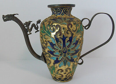 Old Vintage Chinese Brass Cloisonne Champleve Dragon Flask Teapot Wine Pot