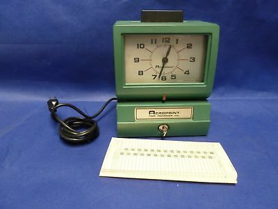 Acroprint Time Recorder Clock Model 125NR4 with KEY and cards Test working!