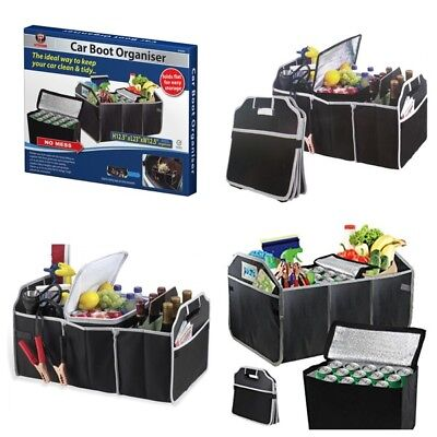 Large Heavy Duty Foldable Car Boot Organiser Foods Drinks Tools Tidy Storage