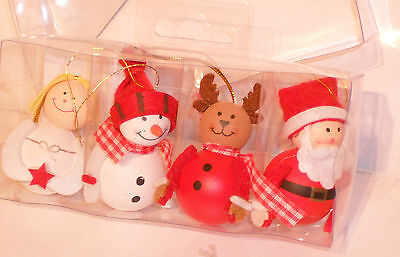 Set of 4 Christmas Tree Decorations,Angel, snowman,Reindeer and Father Christmas