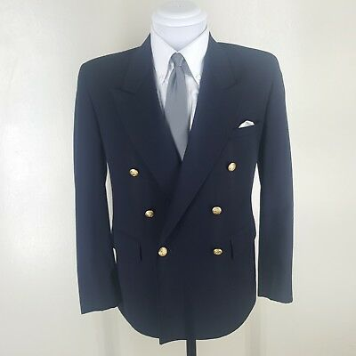 Boys Vintage Made In U.s.a. Barneys Ny Double Breasted Blue Blazer   17 Husky