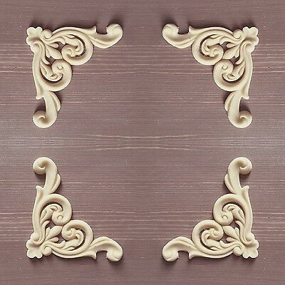 Large Set Of 4 Shabby Chic Furniture Corners Resin Appliques Mouldings Onlays