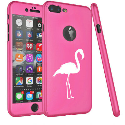 For iPhone 360° Thin Slim Case Cover + Tempered Glass Screen Protector Flamingo